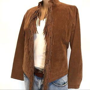 Me Jane Leather Fringe Jacket M